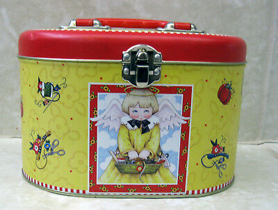 Mary Engelbreit Sewing Tin with Lid Yellow/Red