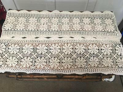 Pair of vintage hand made ecru crocheted table runners