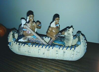Native American INDIAN in CANOE with Wolf & Eagle FIGURINE sculpture