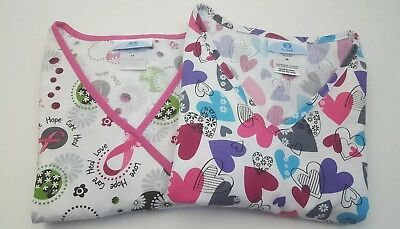 Lot of 2 SB SCRUBS Womens Cancer Awareness Multicolor Hearts Scrub Top Size M