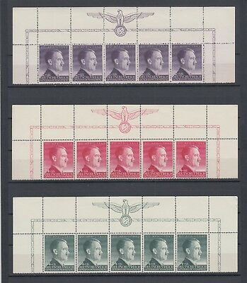 WWII Third Reich Occ.Generalgouvernement Full Set of Partial Sheet Mi 101/3 MNH
