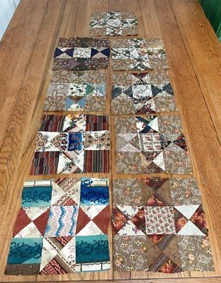 Early c 1830-40s Star QUILT Blocks Antique Blue Browns STUDY Collect