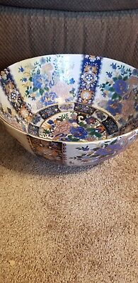 Large  Antique satsuma Chinese Hand Painted Mosaic Bowl Made In China Vintage