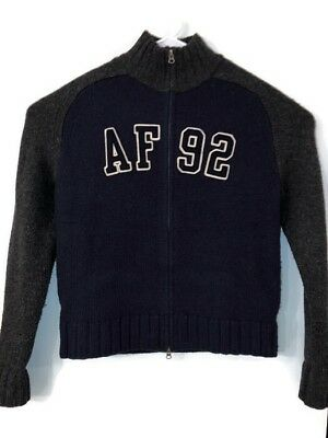 4fbb5948 Abercrombie & Fitch Mens Large Full Zip Sweater Muscle Fit Lambswool Blue  Gray