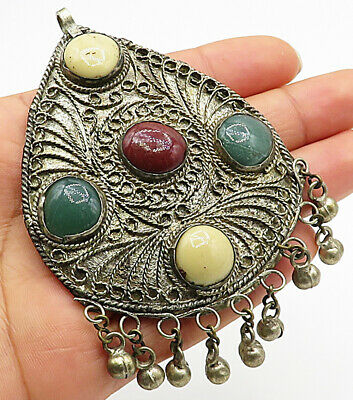 925 Silver - Vintage Large Antique Multi-Gem Filigree Teardrop Pendant - P4487