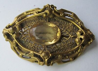 LARGE Antique ART NOUVEAU Gold Filled ORNATE BROOCH Citrine Glass Old C Clasp