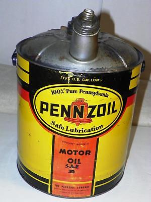 Vintage Empty 5-Gallon Tin Pennzoil Motor Oil Can:  Sae 30 Gas Service Station