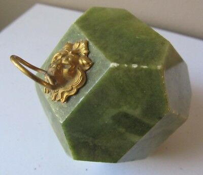 Antique Victorian GREEN MARBLE Gold Painted LION Head PAPERWEIGHT Multi Sided