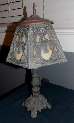 "Ornate Vintage Cast Iron & Slag Glass Shade Table Lamp! 14"" Tall/weighs 5 1/2 Lb"