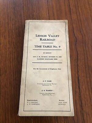 Vintage Lehigh Valley Railroad Time Table # 9