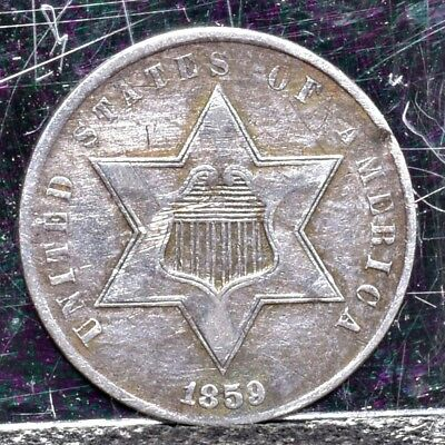 1859 Three Cent Silver - XF Details (#19652)