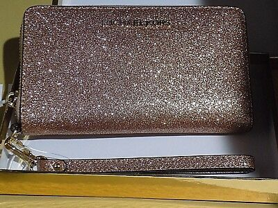 Authentic MICHAEL KORS  Giftable Rose GOLD Zip around multifunction phone wallet