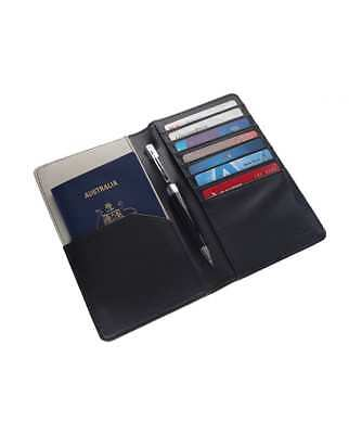 NEW Faux Leather Black & Grey Passport Holder Travel Organiser Wallet