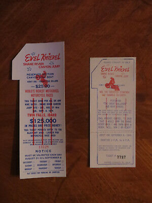 """1974""""original"""" Evel Knievel Snake River Canyon Ticket- Reserved Canyon Side Seat"""