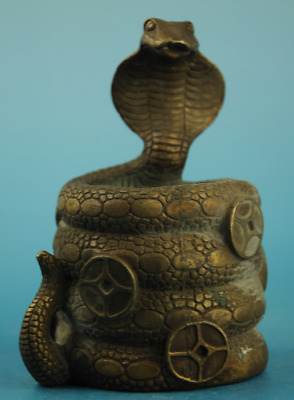 chinese old copper Hand carving snake statue brush pot /daqing mark e01