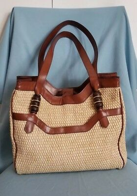 46a20698eb3 DILLARDS MADE IN Italy Straw Brown Leather Trim Large Tote Bag ...