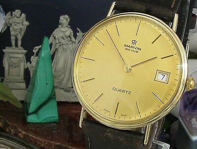 Marvin Review Quartz Vintage  9 ct gold watch swiss made working serviced date