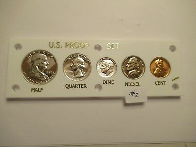 1957 US Mint Proof Set, 5 coins,  white acrylic holder #3