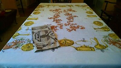 Vintage Country Rustic Tablecloth-Ivy, Bricks, Coffee Pot-73x59-FREE NEW Towel