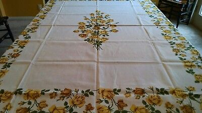 Vintage Stylized Yellow Rose Roses Floral Print tablecloth-69x5-Mid century