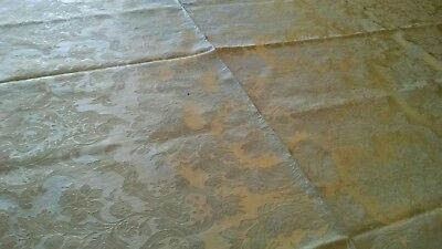 """LUX Vintage WATERFORD Green Damask Tablecloth-67"""" ROUND-Sheen-GLAM!"""