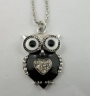 1pcs fashion black enamel crystal heart owl silver chain charms necklace 42x27mm