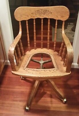 Antique Victorian, Swivel, Tilting, Rolling Office Chair with Arms