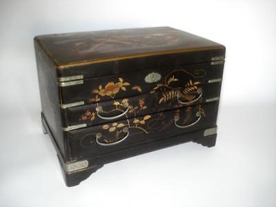 ANTIQUE JAPANESE BLACK LACQUER & MOP INLAID SEWING CHEST JEWELRY 1880s
