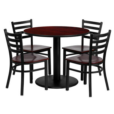 Flash Furniture Round Table Set With 4 Ladder Back Metal Chairs - Wood Seat