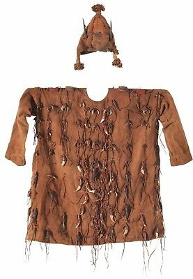 Mande Traditional Hunter's Tunic And Hat With Protective Amulets Mali Provenance