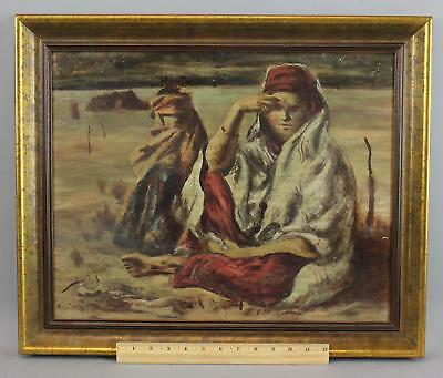 Authentic JOHN TEYREL Oil Painting Orientalist Middle Eastern Women Oil Painting