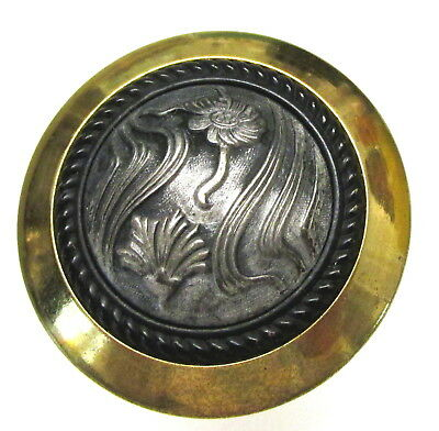 Large Antique Art Nouveau Metal Button With Swirling Flowers R32