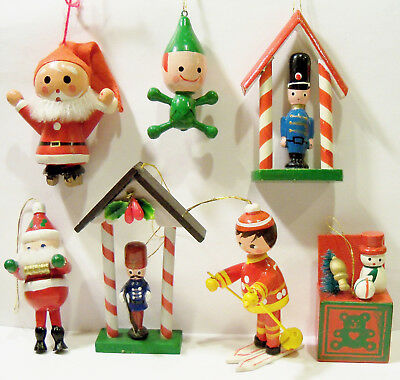 Santa Claus Ice Skater Elf Skier Soldiers Snowman Toy Box Wooden Wood Ornaments