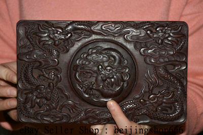 "9"" Rare Old Chinese Dynasty Palace Redwood Hand-Carved Dragon inkstone inkslab"