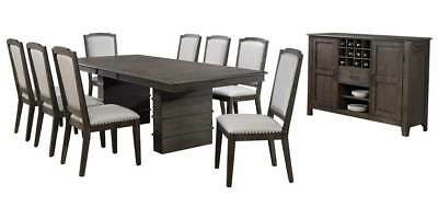 10-Pc Dining Set in Gray and Brown [ID 3793274]