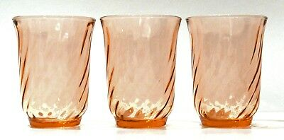 Set of 3 - Arcoroc France Rosaline Pink Swirl Tumblers or Glasses
