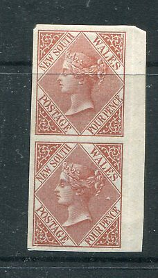 New South Wales 1880 4D Red Brown Plate Proof  Imperf Pair
