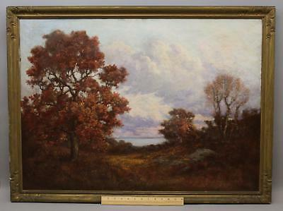 Large 19thC Antique FRANK C PERRY Autumn Fall Foliage Landscape Oil Painting NR