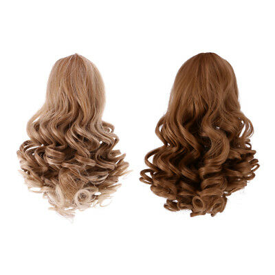 2pcs Deep Curls Wig Wavy Curly Hair for 18'' American Girl Doll Making #1+#3