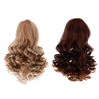 2 Deep Curls Wig Wavy Curly Hair for 18'' American Girl Doll Making Gradient