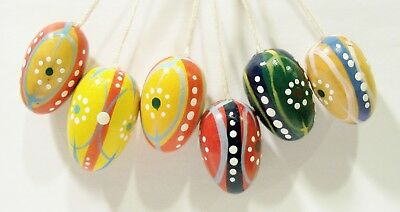 Erzgebirge Germany Easter Eggs Hand Painted Small Wooden Vintage Ornaments