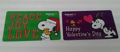 2 Walmart Snoopy Peanuts Gift Cards, Valentine's Day, Peace Joy Love, Mint