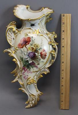 RARE Antique KPM German Hand Painted Porcelain Flower & Insect Wall Pocket, NR