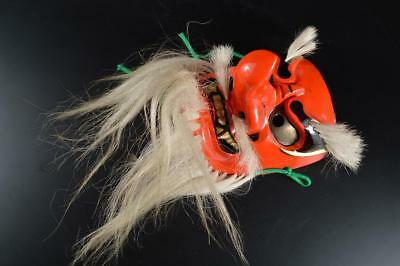 G3768: Japanese Wood carving TENGU MASK Noh mask Kagura Ornaments Display