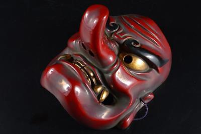 G3767: Japanese Dry lacquer TENGU MASK Noh mask Kagura Ornaments Display