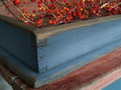 Primitive Apple Tray Old Style Blue Paint 1800s Wood Dovetailed Canted Patina