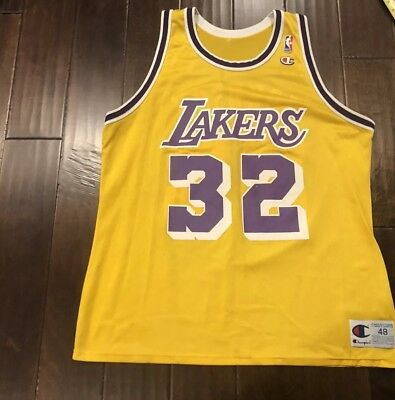 8eb56d0d9 Vintage Champion Magic Johnson Los Angeles Lakers Basketball Jersey Mens 48