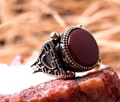 Turkish Handmade  925 Sterling Silver topping Ruby Mens Ring Sz 9.00 Free Rsz