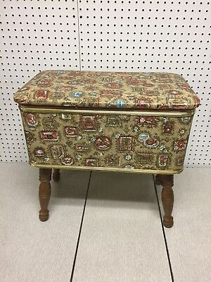 Vintage Mid Century Burlington Sewing Bench Storage Box Stool Ottoman Hassock