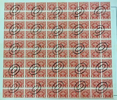 1930 J 78, RARE $5.00 Postage Due Sheet Of 100 US Stamps In Used. SOME FAULTS.